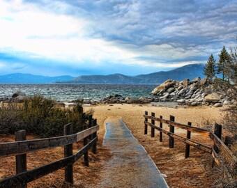 Trail to Sand Harbor Beach, Mountains, Path, Clouds, Rocks, Nature, Nevada, California