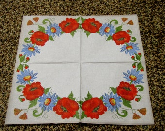"""6 Decoupage Napkins Flowers/Floral Poppy. The effect of embroidery on linen 33x33 cm. 13""""x13"""" set of 6 pcs"""