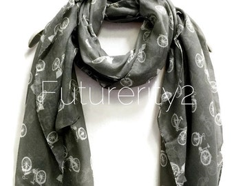 Vintage Bicycle Grey Scarf / Spring Summer Scarf / Women Scarves / Gifts For Her / Accessories / Handmade