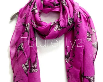 Flying Swallow Birds Magenta Scarf / Spring Summer Scarf / Autumn Scarf / Women Scarves / Gifts For Her / Accessories / Handmade