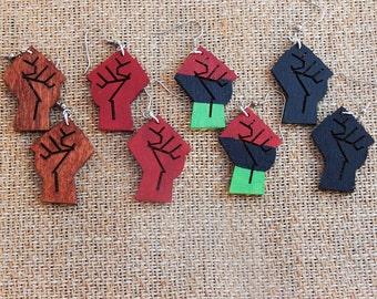 Power Fist Earrings Jewelry Afrocentric Earrings Black Power Fist Earrings Red Black Green African American Wood Earrings Hand Painted