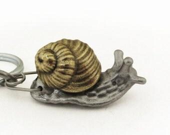 Snail Keychain, Snail Pendant, Snail Necklace, Gastropod, Escargot