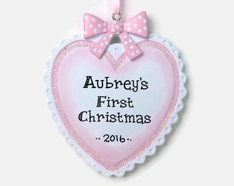 Baby Girl Heart Personalized Ornament - Baby's First Christmas - Hand Personalized Christmas Ornament