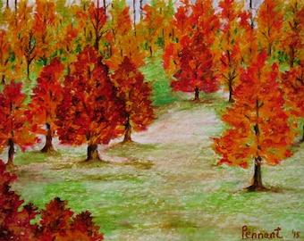 Peinture acrylique toile art paysage printemps peinture - Paysage d automne dessin ...