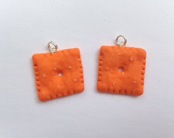 Cheez-it charm - polymer clay charm
