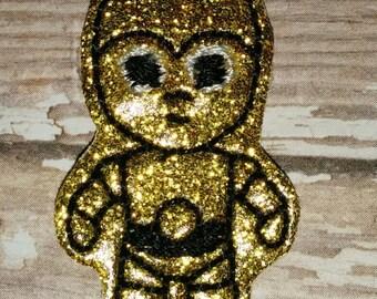 Set of 4 Star Wars C3PO Gold Robot Face Feltie Felt Embellishment Bow! Birthday Party Oversize Large Oversized