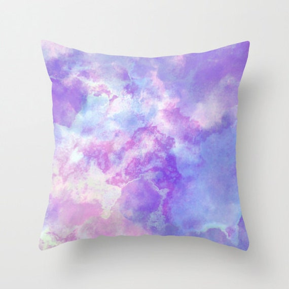 Blue And Pink Decorative Pillows : Pastel Purple pink and Blue Watercolor Art Pillow