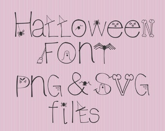 SVG Halloween Font Alphabet Numbers Special Characters for Cutting Machines