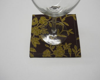 Brown and Gold Drink Coasters