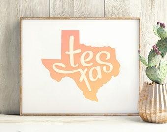 Texas print - Texas art - Texas poster - Texas wall art
