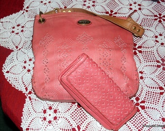 FOSSIL HANDBAG Designer Purse Cutout Reticulated Leather Matching Leather Wallet Ohhhhhhh So Very Soft Very Nice Condition Free Shipping