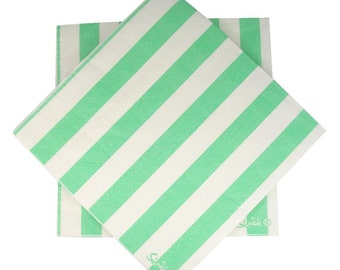 20 MINT GREEN Paper Napkins / Serviettes / 3ply / Stripe / Birthday Party Decorations Ideas and Supplies / Wedding / Baby Shower