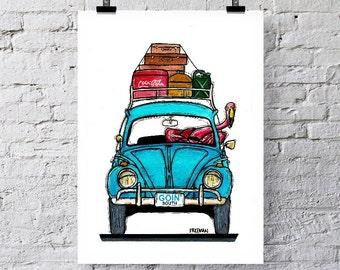 Goin' South.  Flamingo Vacation.  Greetings card  /  Art Print