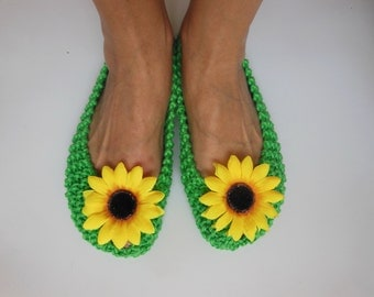 GREEN Slippers, Sunflowers, COTTON Womens Slippers, NonSlip, House Slippers, Knitted Footwear, Ballet flats, Home shoes, NenaKnit, Gift Wrap