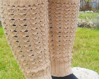 60% OFF SALE Hand knit leg wear, long leg warmers, boot cuffs, spats boot cover in ivory, cream color