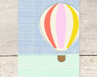 Take Me Away! Any Occasion or Celebration, Hot Air Balloon blank greeting card
