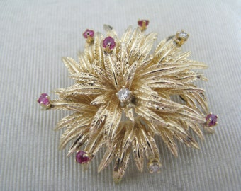 Vintage Chrysanthemum Brooch with Ruby & Diamonds in 14k Yellow Gold