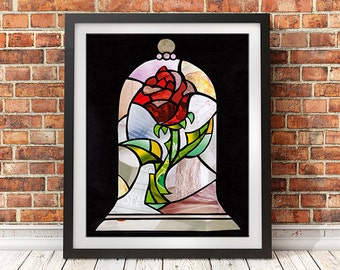 Beauty And The Beast Rose, Enchanted Rose, Cursed Rose, Wall Art Print, Princess Art, Rose home decor, Canvas Art/ Paper Print