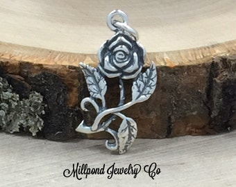 Rose Charm, Flower Charm, Sterling Silver Charm, Silver Pendant, Rose Pendant, Flower Pendant, PS3181