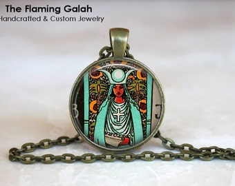 HIGH PRIESTESS TAROT Pendant • Tarot Necklace • Spiritual Jewelry • Symbolic • Gift Under 20 • Made in Australia (P0905)