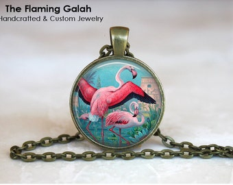 PINK FLAMINGO Pendant •  Retro Vintage Flamingo • Gift Under 20 • Made in Australia (P0728)