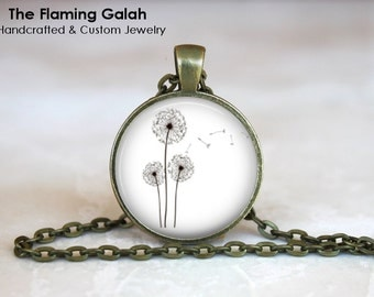 DANDELION Pendant • Simple Dandelion Charm • Wild Dandelion • Black & WHite Dandelion • Gift Under 20 • Made in Australia (P0219)