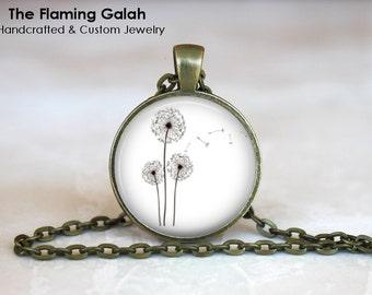 DANDELION Pendant • Simple Dandelion Charm • Wild Dandelion • Black & WHite Dandelion • Gift Under 20 • Made in Australia (P0219)
