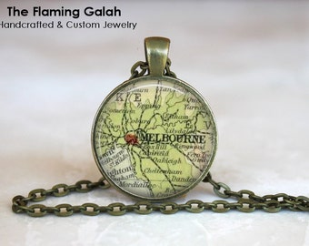 MELBOURNE Map Pendant • Vintage Melbourne Map • Old Melbourne Map • Capital of Victoria • Gift Under 20 • Made in Australia (P1175)
