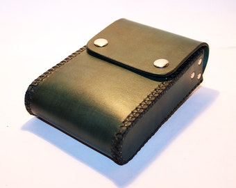Belt Pouch! Leather Handmade Pouch! Green Belt Purse! Belt Bag! Hip Bag! Medieval Pouch! Leather Bag! Leather Purse!