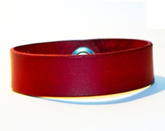 Red Leather Cuff Bracelet! Nice gift for women!Red wrist cuff! Bracelet wof women! Bracelet for men.