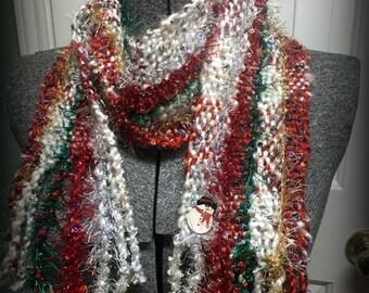 SALE~Snowman Christmas Party Scarf~ Hand woven original handmade ~ Cute Fluffy Holiday Treat~Festive art to wear original