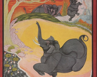 The summer elephant ... Printed reproduction of an Indian miniature painting