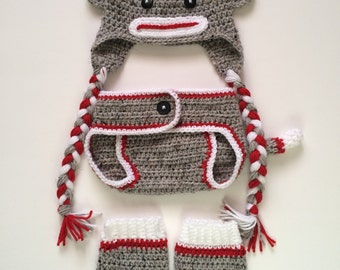 Sock Monkey hat, diaper cover, and leg warmers