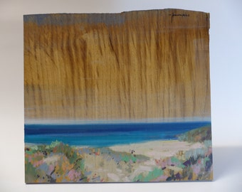 Delicate Oak skyline over the sea. Original  wooden painting by Juanma Pérez. oil on solid oak. 11,4  x 10,2  in.