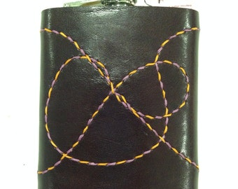 "Leather Hip Flask ""Squiggle"""
