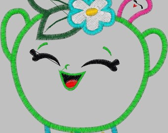 Embroidery Design Digitized Sour Apple Applique 4 x 4