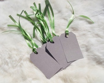 GIFT TAGS HANDMADE Brown White Dot with Green Ribbon Set of Ten