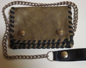 wallet with chain, leather, vintage-antilopen brown