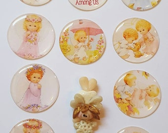 Angel Christmas Cabochons 1 inch circles