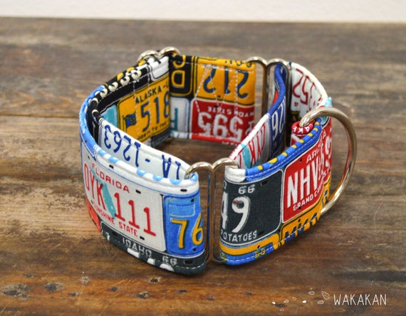 Martingale dog collar model USA License Plates. Adjustable and handmade with 100% cotton fabric. American hipster style Wakakan