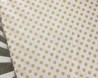Crib Sheets ~ Light Pink with Gold Dots, Michael Miller Glitz