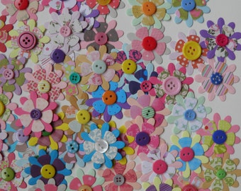 10 Paper flowers with button, 10 buttoned flowers, Paper embellishments, Handmade paper flowers, Paper ephemera, Journaling, Project Life