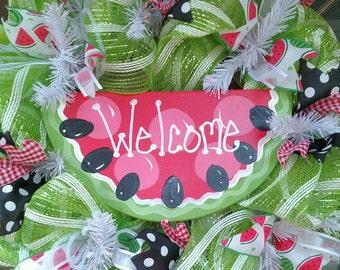 Deco Mesh watermelon wreath