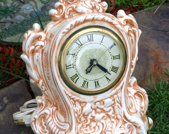 1970's Holland mold ceramic clock/german clock/mantle clock/table clock/french country/country cottage/victorian