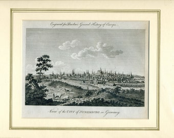 Antique Engraving - View of the CITY of NUREMBURG in Germany