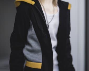 Dense hoody black/yellow/gray for BJD. SD boys