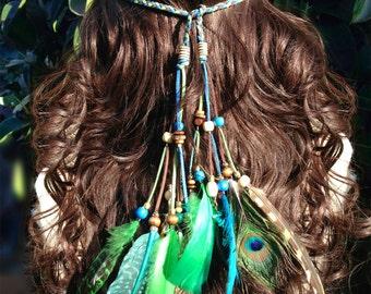 Jade Princess Boho Feather Headband, Feather Headdress, Native American Style