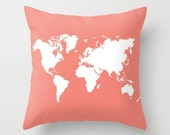 World Map Pillow Cover - Coral and White - Modern Pillow Cover - Graphic Pillow - Travel Home Decor - Nursery Pillow - By Aldari Home