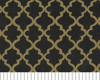 Black and Gold Mini Quatrefoil Fabric, Fabric Finders,100 percent cotton, Black and Gold Quatrefoil