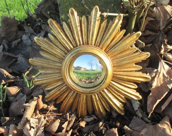 Small Sunburst Wall Hanging Convex Mirror Mid Century Resin French Lovely